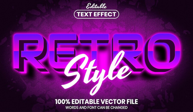 Retro style text, font style editable text effect