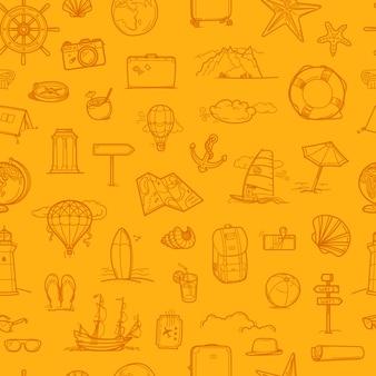 Retro style travel seamless pattern