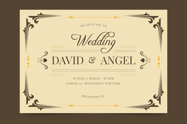 Retro style for wedding invitation template