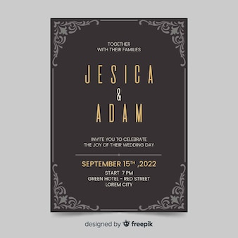 Retro style wedding invitation