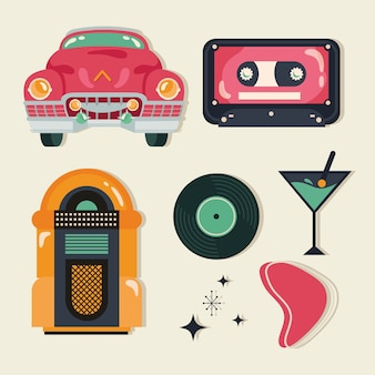 Retro style with set icons vector illustration design