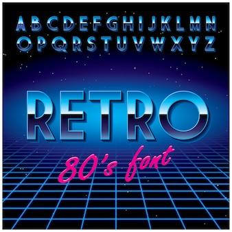 Ретро стильный шрифт с алфавитом и одним словом в центре иллюстрации