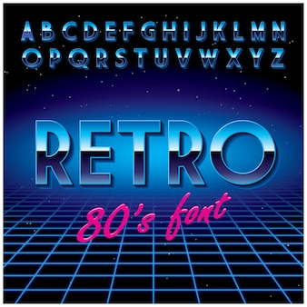Retro stylish font poster with alphabet and one word in the centre illustration