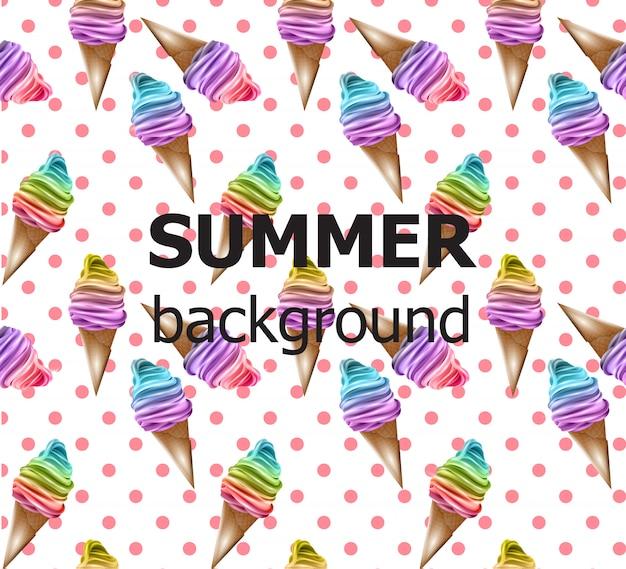 レトロ夏の背景アイスクリームパターン