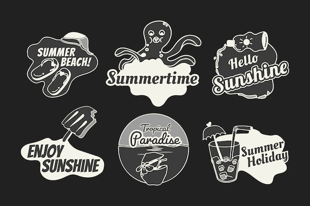 Retro summer badge set