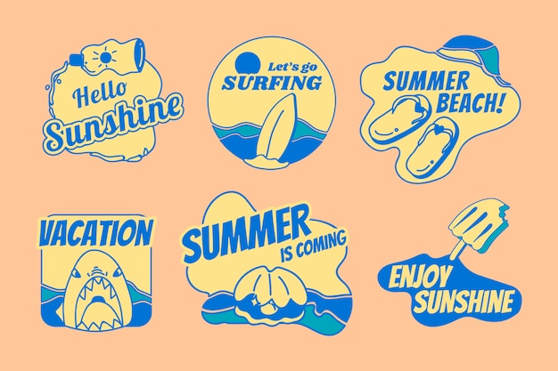 Retro summer badge set