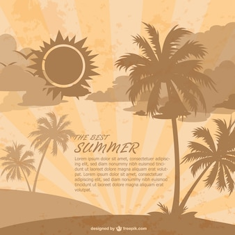 Retro summer beach background with palm trees