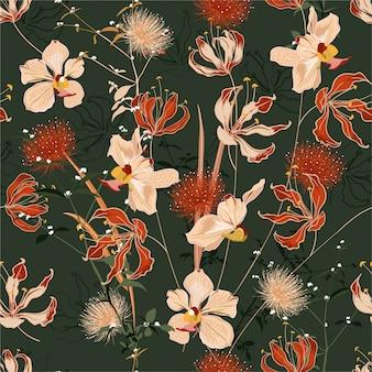 多くの種類のシームレスな花柄の咲く花でいっぱいレトロな夏の野生の森。