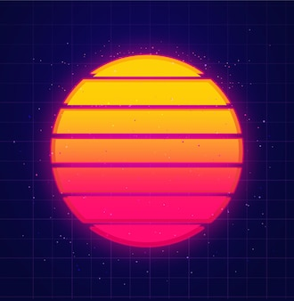 Retro sun glowing on star sky vaporwave and music background futuristic sunset in 80s style