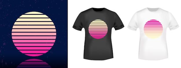 Ретро солнце футболка печать штамп для футболки, футболки аппликация, мода, повседневная одежда.