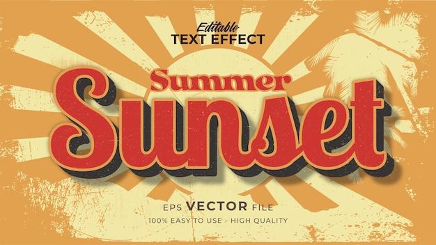 グランジスタイルのテーマでレトロな日没の夏のテキスト