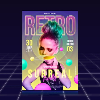 Retro and surreal party poster template