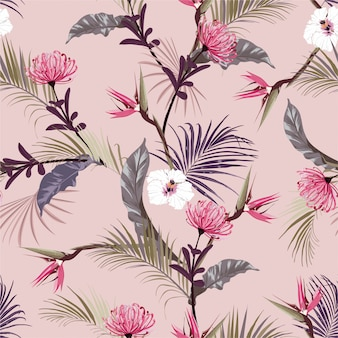 Retro sweet tropical jungles  with exotic flower ,hibiscus floral seamless pattern