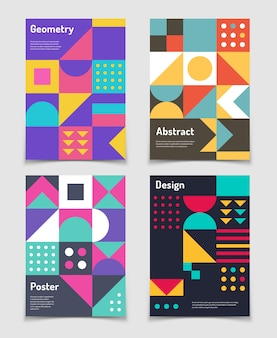 Retro swiss posters with geometric bauhaus shapes