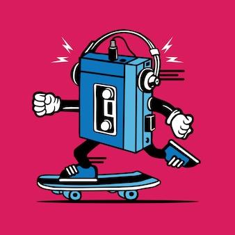 Retro tape cassette music player skateboarding character design