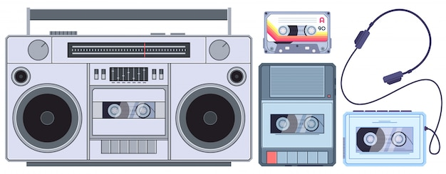 Retro tape player. vintage cassette music players, old sound recorder and audio cassettes  illustration set