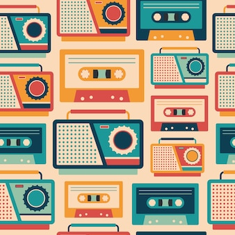 Retro tape recorders and cassettes seamless pattern.