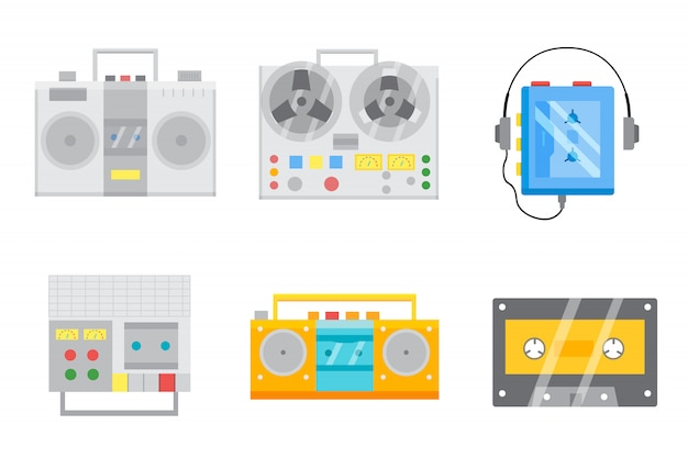 Retro tape recorders icon set