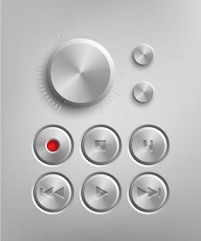 Ретро-технический интерфейс набор металлических кнопок