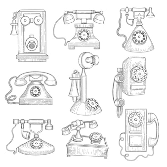 레트로 전화. 오래 된 고대 기술 가제트 손으로 그려진 된 통신 개체.