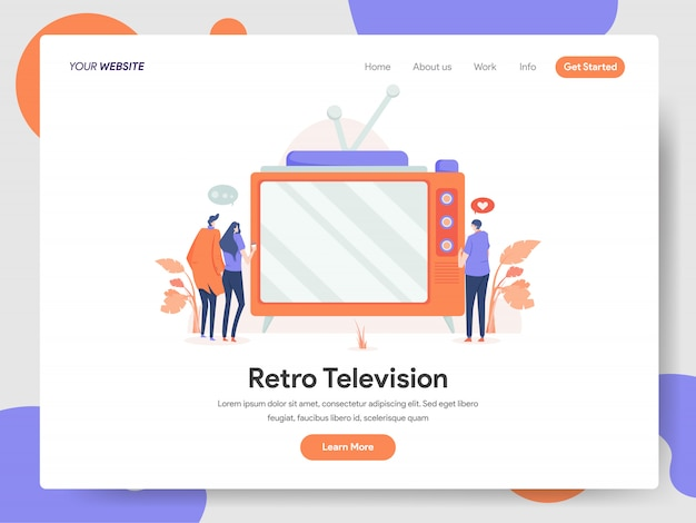 Retro television banner of landing page