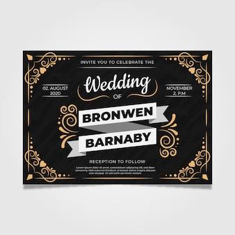 Retro template wedding invitation