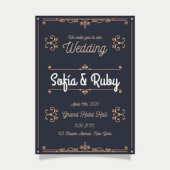 Ретро шаблон свадебного приглашения