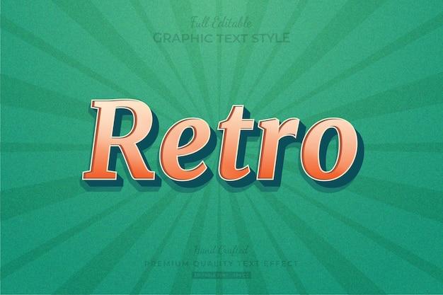 Retro text effect editable premium font style