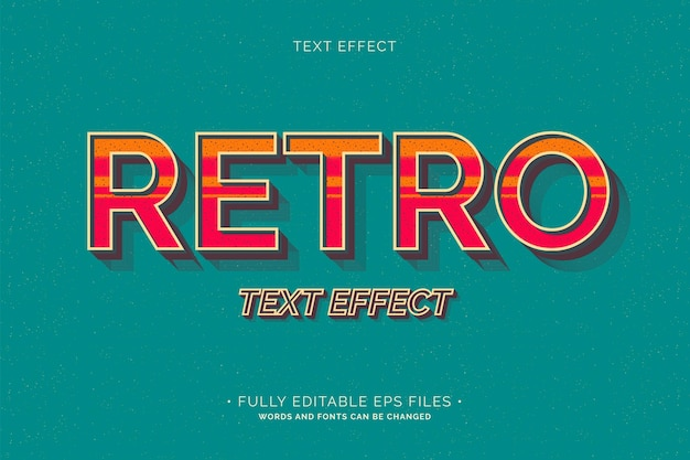 Retro text effect fully editable