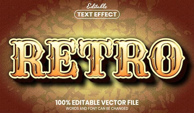 Retro text, font style editable text effect