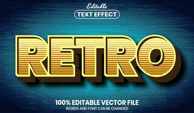 Ретро текст, редактируемый текстовый эффект в стиле шрифта