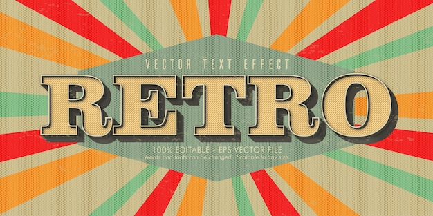 Retro text, old style editable text effect