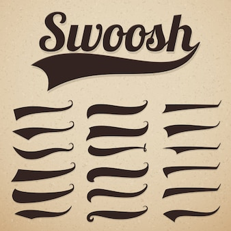 Retro texting tails swooshes swishes, swooshes and swashes for vintage baseball typography