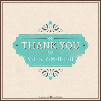 Retro thank you card Premium Vector