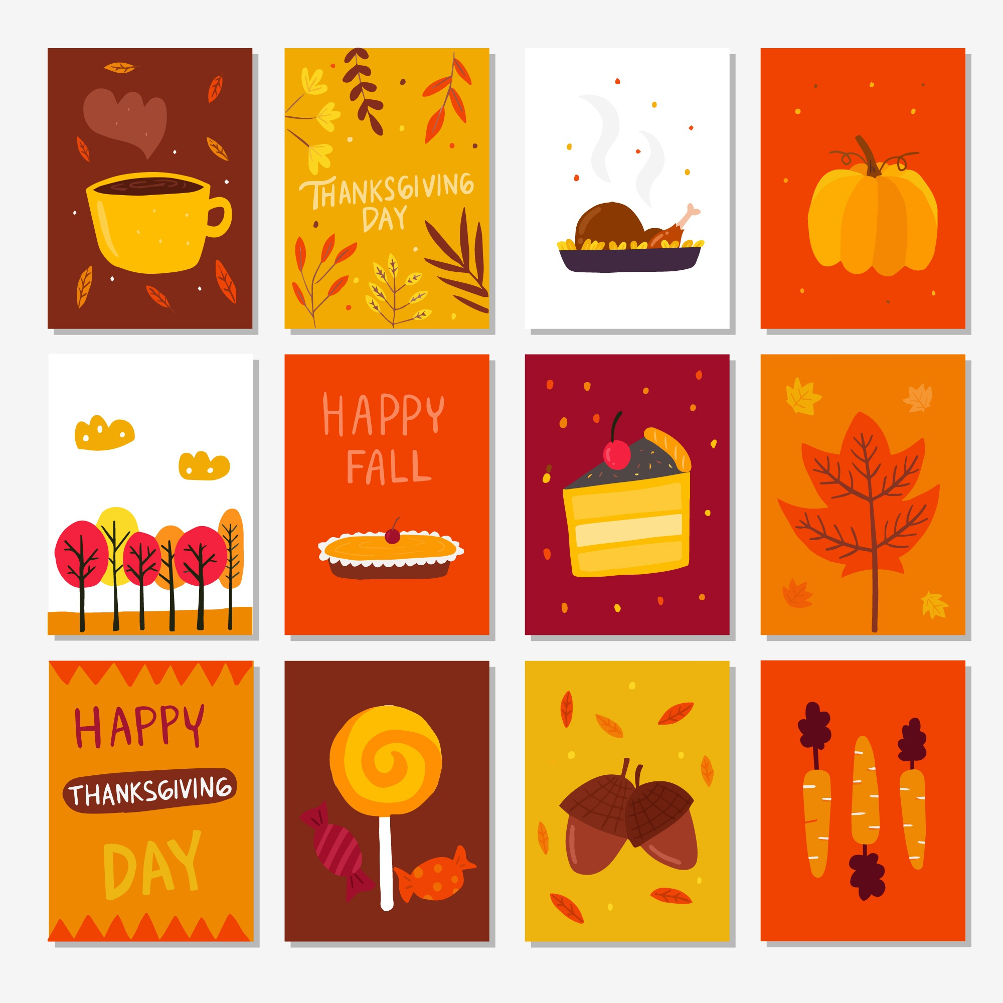 Retro thanksgiving cards pack