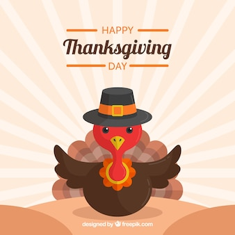 Retro thanksgiving day background with lovely turkey