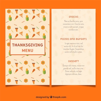 Retro thanksgiving menu in flat design