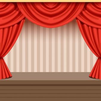 Ретро театральная сцена фон с красным занавесом и полосатый фон. деревянная сцена с драпировкой и ламбрекенами. интерьерная иллюстрация.