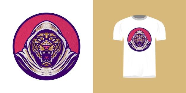 Ретро иллюстрация тигра для дизайна наклейки, дизайн футболки