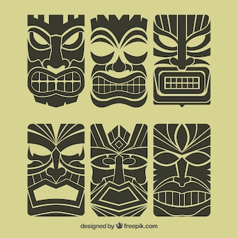 Retro tiki masks pack