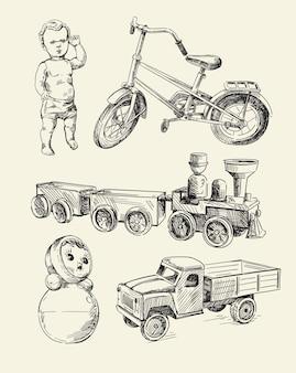 Набор эскизов ретро игрушки старое время