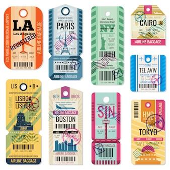 Ретро дорожные багажные этикетки и багажные билеты с векторной коллекцией символа полета