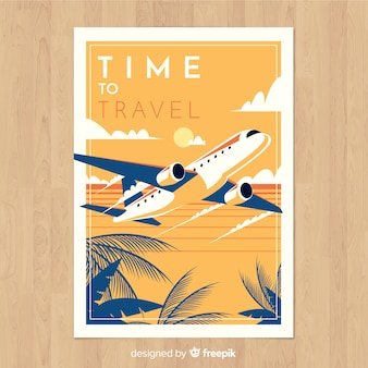 Retro travel poster flat design