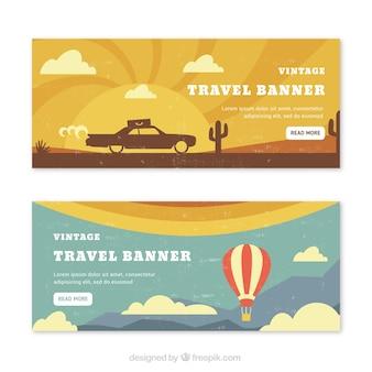 Retro travel summer banners