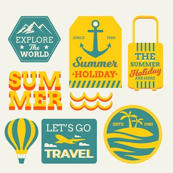 Retro travelling stickers in 70s style