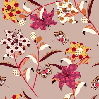Retro trendy vector floral seamless pattern