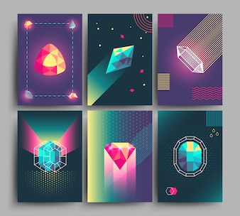 Retro trendy vector hipster posters