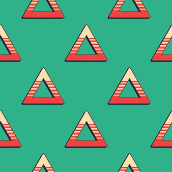 Retro triangles pattern, abstract geometric background in 80s, 90s style. geometrical simple illustration