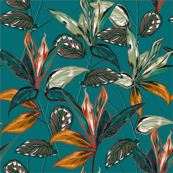 Retro tropical forest  pattern