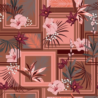 Retro tropical seamless pattern silk scarf with modern frame exotic forest.